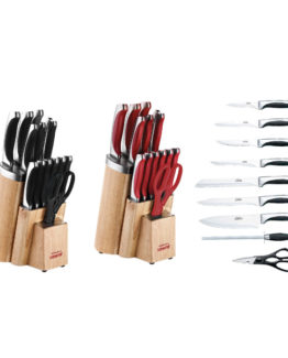 Schafer 15 Pieces İnox Monoblock Knife set SHF-605Y Red