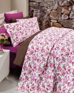 Kupon double  PanamaBed Covered brouwn-fuchsia