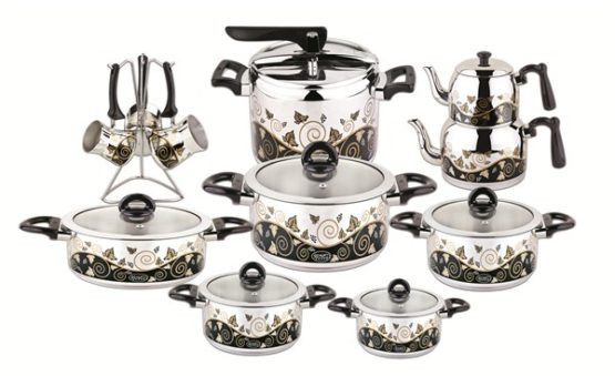 Ozkent 437 Albeni Dowry set 20 Pieces Black