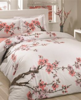 Soley double  Ranforce Duvet Cover Set -Sakura White  V2