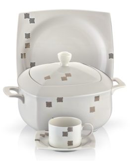Schafer 85 Pieces Square Bone Dining Set SHF-4001