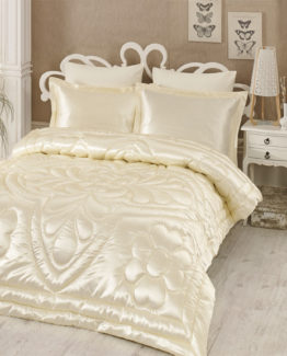 Kupon double  Saten Quilt 6 Piece Dowry set Cream