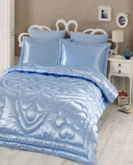 Kupon double  Saten Quilt 6 Piece Dowry set Blue