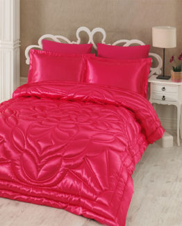 Kupon double  Saten Quilt 6 Piece Dowry set fuchsia