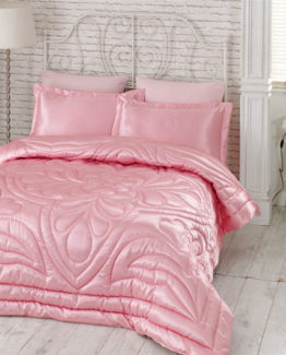 Kupon double  Saten Quilt 6 Piece Dowry set Pink
