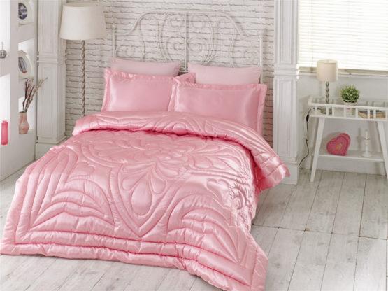 Kupon double  Saten Quilt 6 Piece Dowry set Pink
