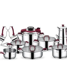 Schafer 18 Pieces Compakt Steel Dowry set Bordo