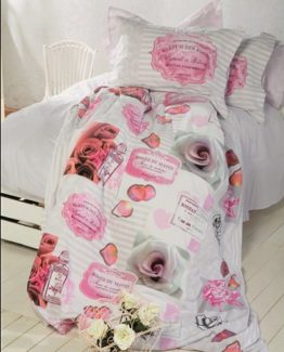 Soley Single Ranforce Duvet Cover Set -Vintage Rose Pudra
