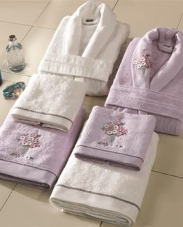 Soley 3-DEmbroidered Bambu 6 PieceBathrobe set Sweta