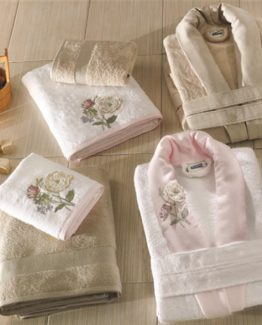 Soley 3-DEmbroidered Bambu 6 PieceBathrobe set Marina