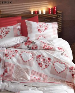 Minteks Ranforce Single Duvet Cover Set  Love Time