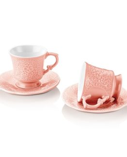 Schafer Retro 12 Pieces Coffee Cup Set Pembe