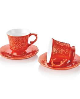 Schafer Retro 12 Pieces Coffee Cup Set Red