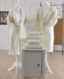 Minteks Cream-WhiteBathrobe set (Ahu)