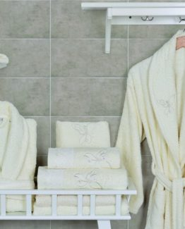 Minteks Cream-WhiteBathrobe set (Peri)