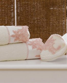 Minteks Romantic Slipper li Towel set (Melanie Cream)