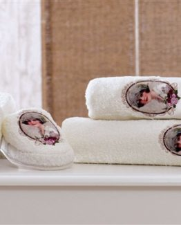Minteks Paris Slipper li Towel set (Anna Cream)