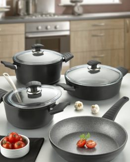 Remetta 7 Pieces Granit pot Set Black Soft