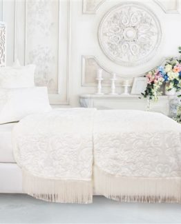 Soley Selection Fringed Blanket Set  Alina Cream