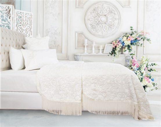 Soley Selection Fringed Blanket Set  Alina Cream