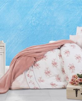 Soley Welsoft Blanketli Duvet Cover Set  Roses Pudra