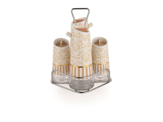 Schafer 5 Pieces Nesting Oil-Vinegar Bottle set Gold (79690)