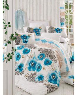 Diamond Single Duvet Cover Set  Merve Blue