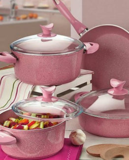 Aksu Extra Granit 7 Pieces pot Set - Pembe