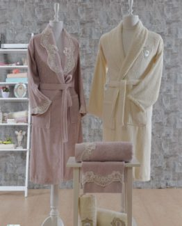 Minteks Princess 6 PieceFamily Bathrobe set Berthe rosekurusu-Cream