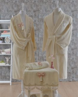 Minteks Princess 6 PieceFamily Bathrobe set Marlene Cream-Cream