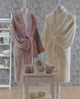 Minteks Romantic 6 PieceFamily Bathrobe set Alıson rosekurusu-Cream
