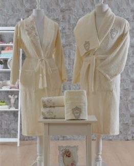 Minteks Romantic 6 PieceFamily Bathrobe set Amelie Cream-Cream