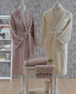 Minteks Romantic 6 PieceFamily Bathrobe set Rosano rosekurusu-Cream