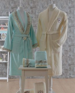 Minteks Romantic Natural 6 PieceFamily Bathrobe set Alara Nil Greeni-Cream