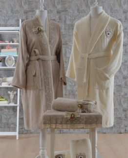 Minteks Romantic Natural 6 PieceFamily Bathrobe set Angelina