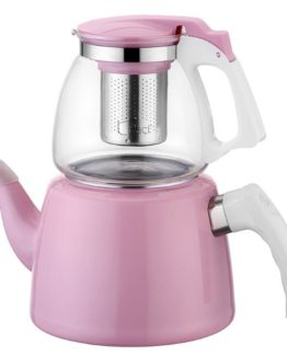 BAYEV Glass-EMAYE Tea KETTLE SET PEMBE - 200250