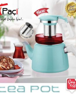 BAYEV Glass-EMAYE Tea KETTLE SET MİNT - 200250