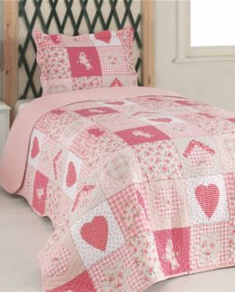 Kupon double Bed Covered - Pinky