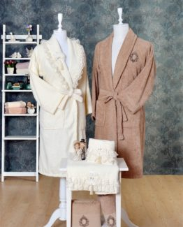 Minteks Princess 6 PieceFamily Bathrobe set Eliz Cream-brouwn