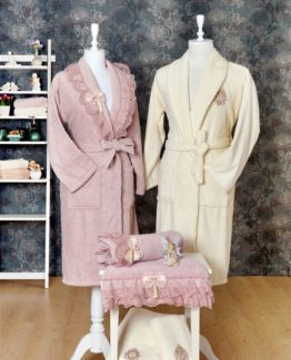 Minteks Princess 6 PieceFamily Bathrobe set Ezel rosekurusu-Cream