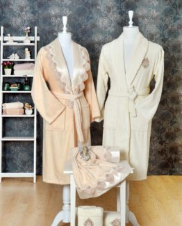 Minteks Princess 6 PieceFamily Bathrobe set Verla Pudra-Cream